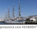 一艘大型帆船Nippon Maru在橫濱港口停靠 49388897