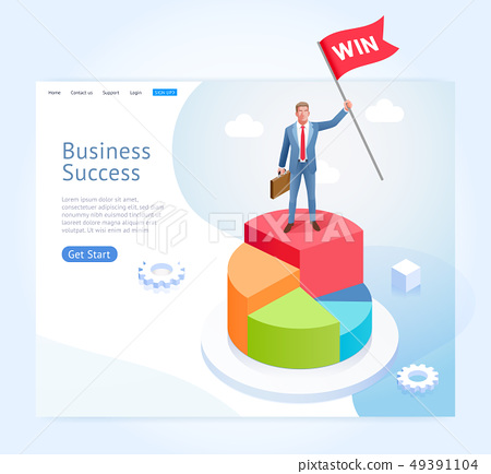 Businessman with red flag stand on top of the 49391104