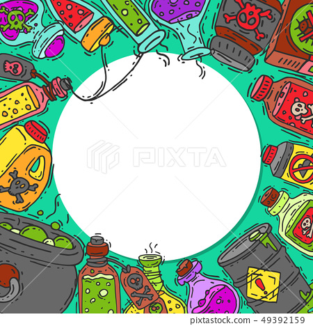 Toxic substances round pattern vector illustration. Different containers for liquids and poisonous 49392159