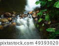running of water stream from waterfall in tropical 49393020