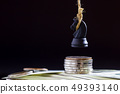 Horse or king of chess hanging on dollar banknote. 49393140