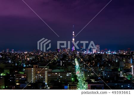 東京的鳥瞰圖,摩天大樓,鳥瞰圖[東京天空樹] 49393661