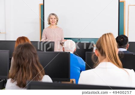Mature female coach lecturing 49400257