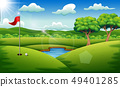 Golf course on the landscape background 49401285