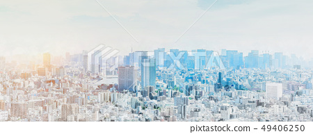 panoramic modern city skyline mix sketch effect 49406250