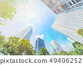 looking up view of city skyline with sketch effect 49406252