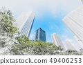 looking up view of city skyline with sketch effect 49406253