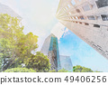 looking up view of city skyline with sketch effect 49406256