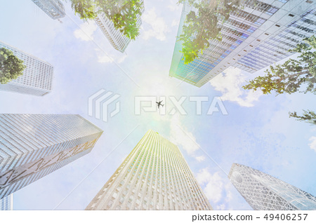 looking up view of city skyline with sketch effect 49406257