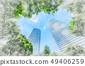 looking up view of city skyline with sketch effect 49406259