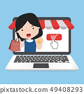 Online shopping concept with girl 49408293