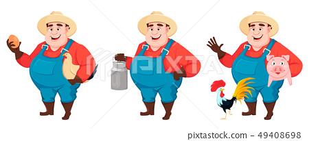 Fat farmer, agronomist, set of three poses 49408698