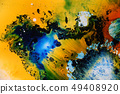 Colorful liquids mixed together to abstract shapes 49408920