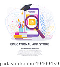Education apps store on phone screen. Flat vector concept. 49409459