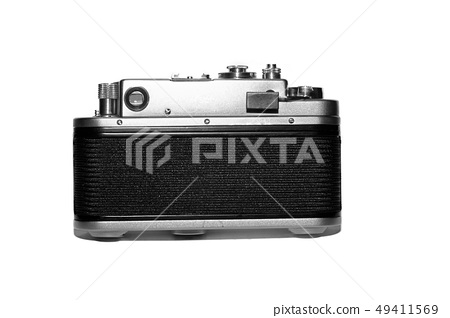 retro rangefinder film camera back side view 49411569