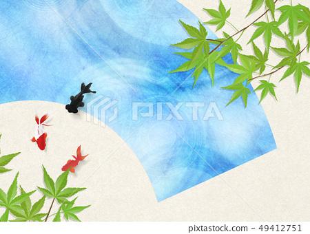 종이 - 일본 화 - 금붕어 - 여름 안부 - 청량감 - 물 - 부채 49412751