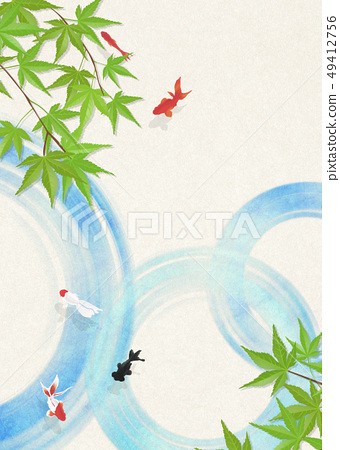 日本纸 - 日本绘画 - 金鱼 - 夏天的问候 - 凉爽的感觉 - 水蓝色的秋叶 49412756