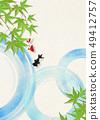 Japanese paper-Japanese painting-goldfish-summer greetings-cool feeling-water-blue autumn leaves 49412757