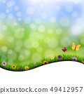 Grass And Flowers Border Nature Background 49412957