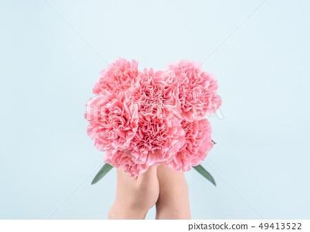 母親節Yasuno Kaoru送花卡片慶祝康乃馨頂視圖母親節 49413522
