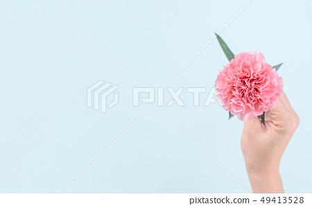 母親節Yasuno Kaoru送花卡片慶祝康乃馨頂視圖母親節 49413528