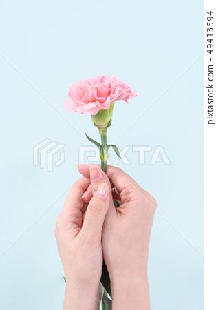 母親節Yasuno Kaoru送花卡片慶祝康乃馨頂視圖母親節 49413594