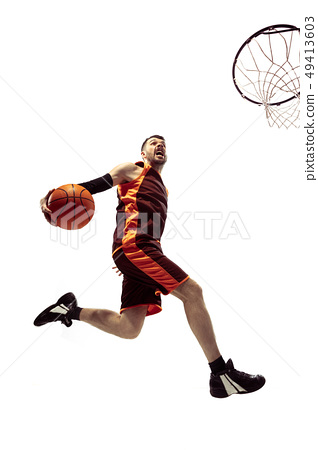 Full length portrait of a basketball player with ball 49413603