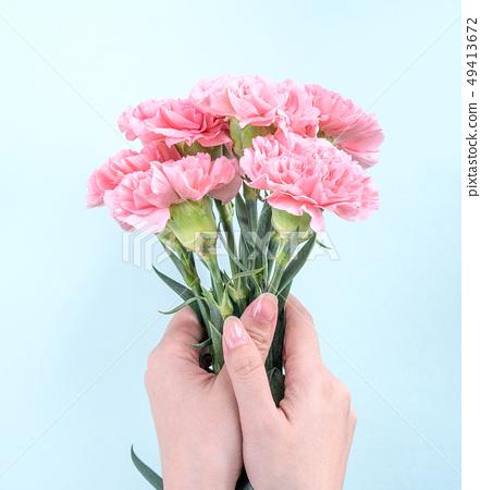 母親節Yasuno Kaoru送花卡片慶祝康乃馨頂視圖母親節 49413672