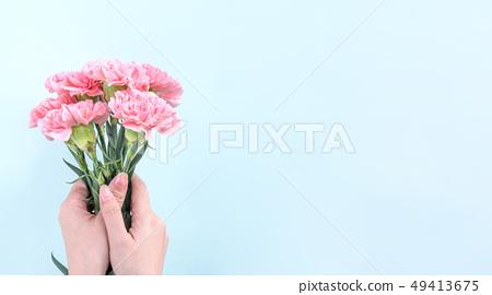 母親節Yasuno Kaoru送花卡片慶祝康乃馨頂視圖母親節 49413675