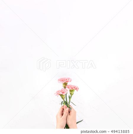 母親節Yasuno Kaoru送花卡片慶祝康乃馨頂視圖母親節 49413885