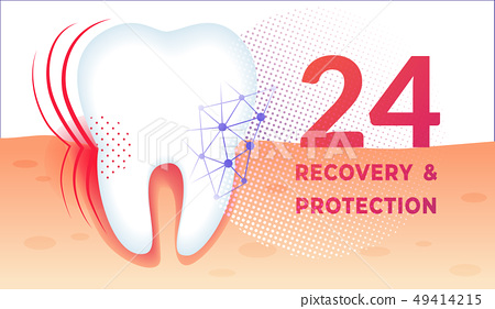 Teeth Care Poster with Huge Healthy Tooth in Gum. 49414215