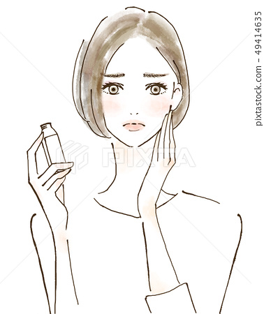 스트레스 영양 일하는 여성 손으로 그린 일러스트 49414635