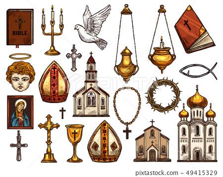 Christianity religion orthodox, catholic symbols 49415329