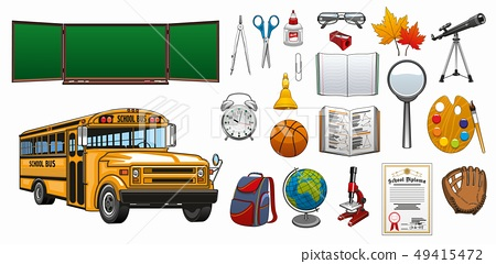 Back to school and college education stationery 49415472