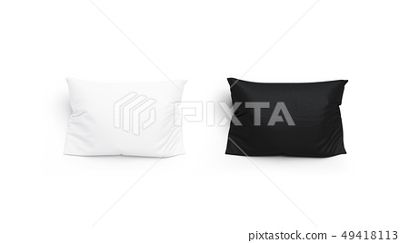 Blank black and white pillow mock up set, isolated 49418113