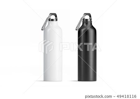 Blank black and white metal sport bottle mockup  49418116