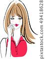 메이크업 한 여자 빨간 셔츠 49418628