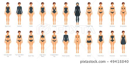 Vector set of female swimsuit 49418840