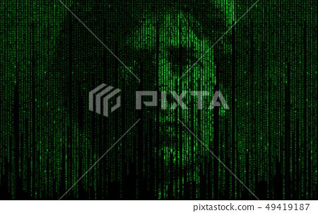 Abstract matrix ai theme with human face 49419187