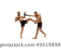 Two professional boxers boxing isolated on white studio background 49419899