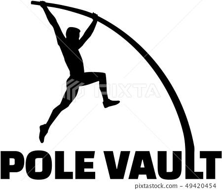 Pole vaulter with flexible pole 49420454
