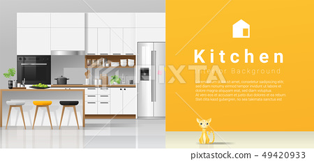 Modern white kitchen with yellow wall background 49420933