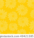 Aster Dahlia Flowers yellow seamless vector pattern. Floral subtle background. Hand drawn 49421385