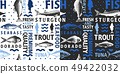 Typographic vector fish seamless pattern on light 49422032