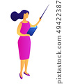 Female teacher with a book and a pointer isometric 3D illustration. 49422387