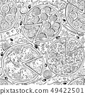 Vector Italian pizza seamless pattern. Hand drawn 49422501