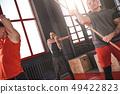stretching, man, gym 49422823