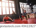 stretching, exercise, man 49422827