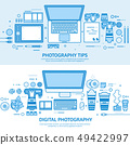Photography tools, photo editing and photoshooting. Digital photocamera with lens. Flat blue outline 49422997