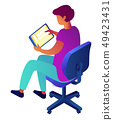 Businessman holding tablet and sitting on chair isometric 3D illustration. 49423431